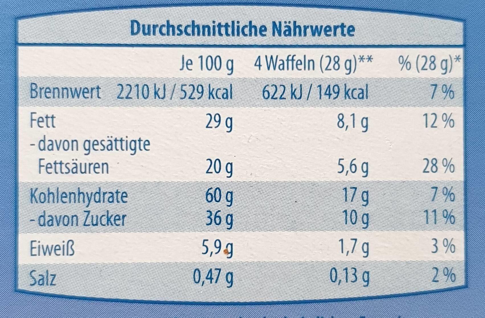 Schoko Waffelröllchen Vollmilch - Informations nutritionnelles - de
