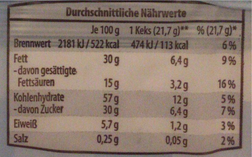 Haferflocken Gebäck - Informations nutritionnelles - de