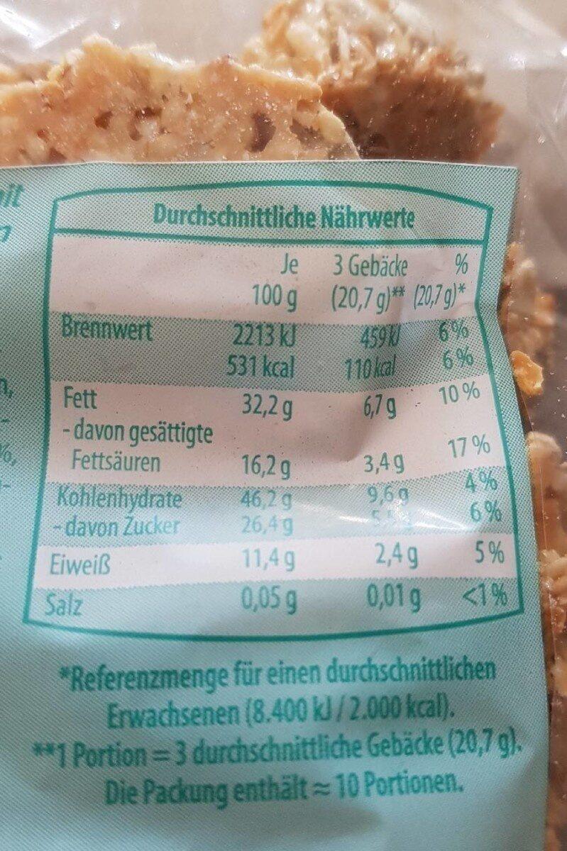 Vitalgebäck Knuspriges Gebäck mit Kokosraspeln und Kürbiskernen - Informations nutritionnelles - fr