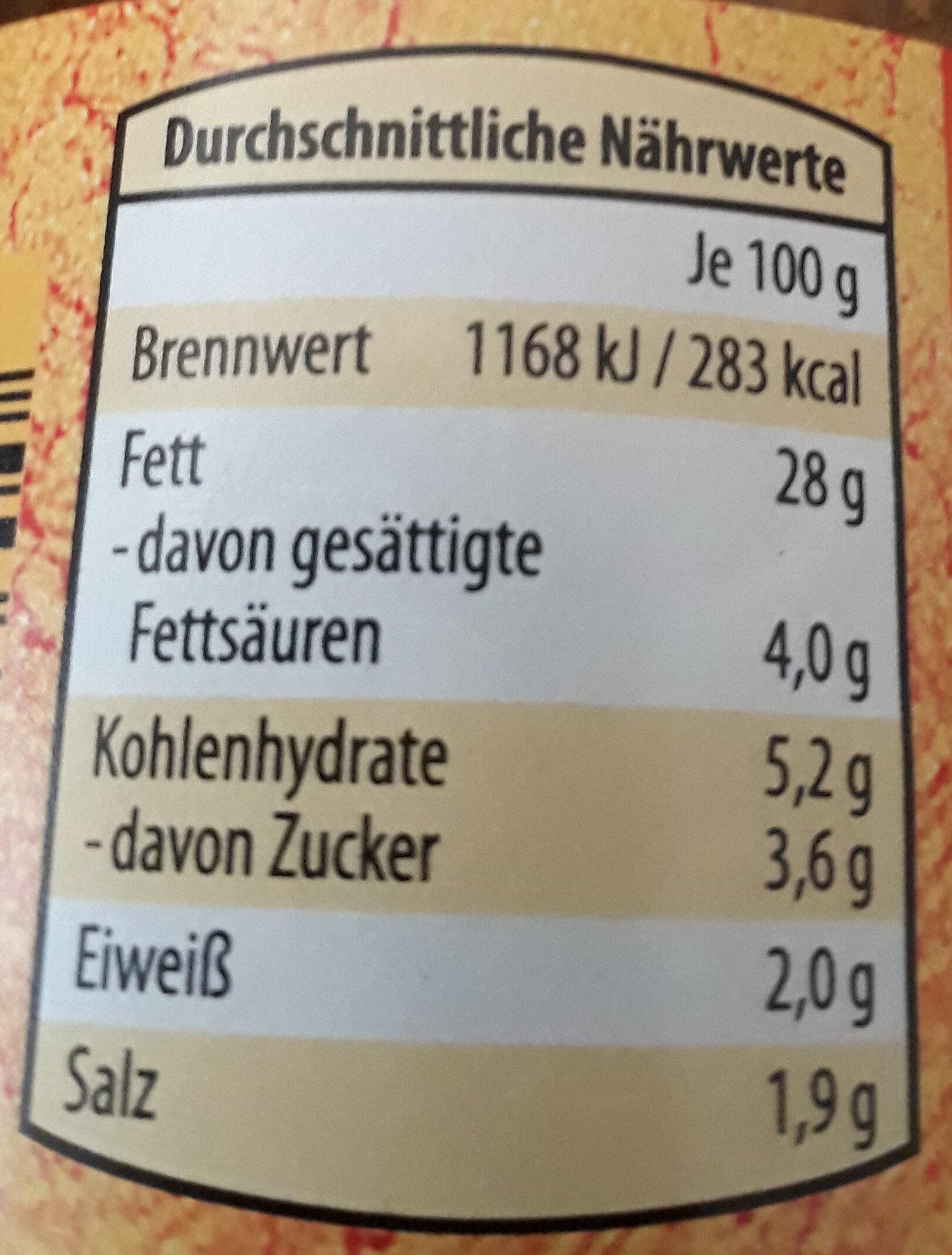 Gemüseaufstrich - Nutrition facts - de
