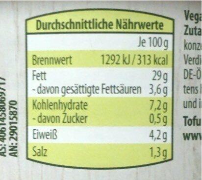 Vegane Bio Pastete - Informations nutritionnelles - de