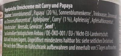 Curry Papaya Bio Veggie Streichcreme - Ingrédients - de