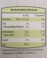 Veganer Bio Tofu - Nutrition facts - de