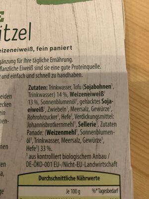 Bio Veggie Schnitzel - Ingrédients - de