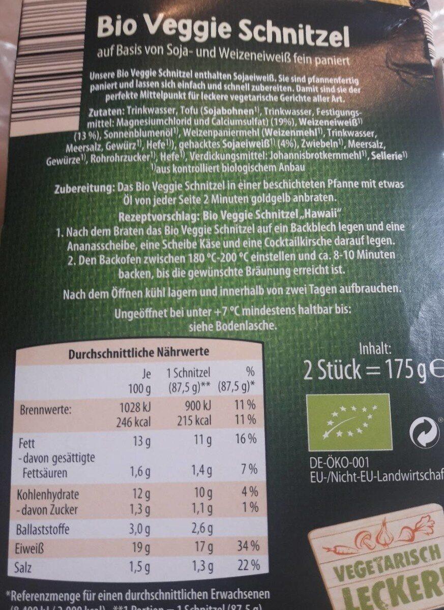 Bio Veggie Schnitzel - Nutrition facts - de