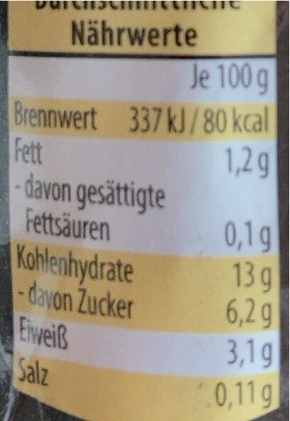 Maiskolben - Informations nutritionnelles - de
