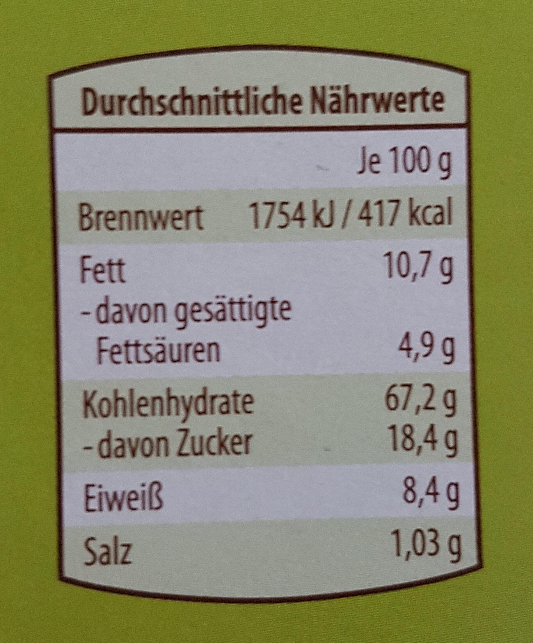 Buchstabenkekse - Informations nutritionnelles - de