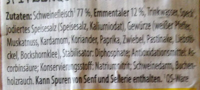 Käse-Bockwurst - Ingrediënten - de