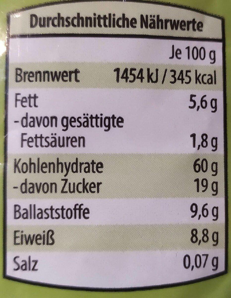 Früchte Müsli Vollkorn - Nährwertangaben - de