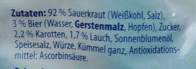 Sauerkraut - Ingredients