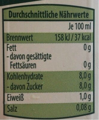 Rote Bete Saft - Informations nutritionnelles