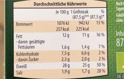 Bio Veggie Grillsteaks - Nutrition facts
