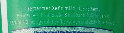 Fettemer Kefir mild 1,5% - Ingrédients