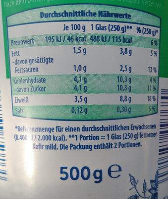 Fettemer Kefir mild 1,5% - Informations nutritionnelles - de