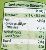 Dattelsirup - Nutrition facts - de