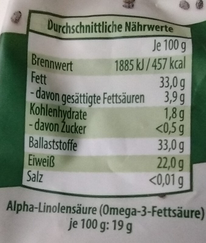 Chia samen - Valori nutrizionali - de