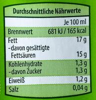 Kokosnussmilch - Nährwertangaben - de