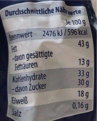 Erdnussberge mit Vollmilchschokolade - Nährwertangaben - de