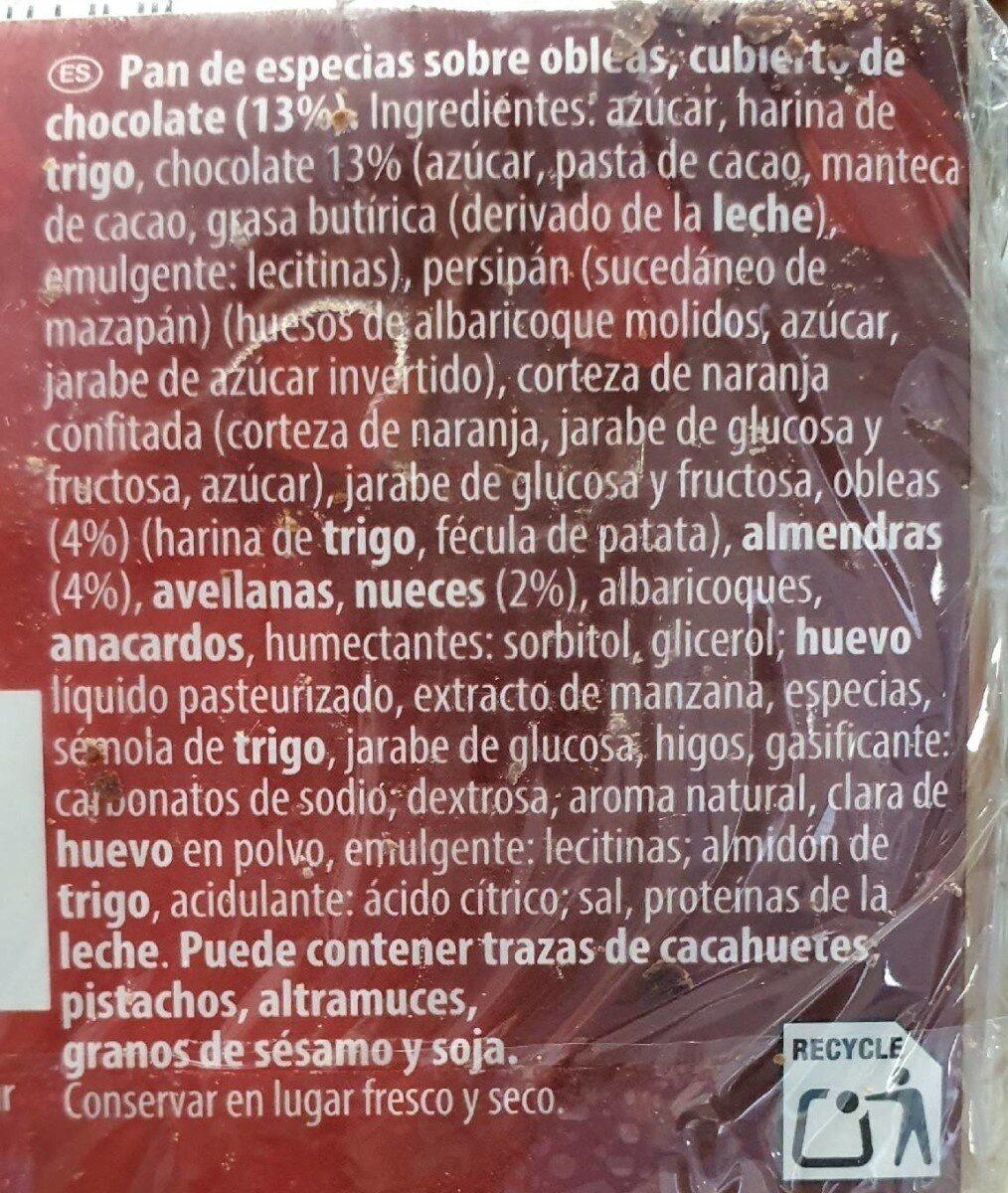 Pan de especias sobre obleas cubierto de chocolate - Nutrition facts - en