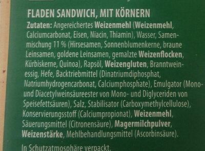 Flatbread Sandwich (pain grec) - Zutaten - de