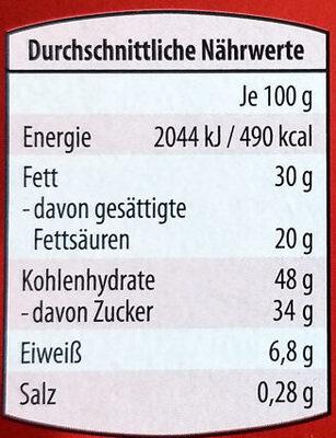 Baumkuchen mit Zartbitterschokolade - Informations nutritionnelles - de