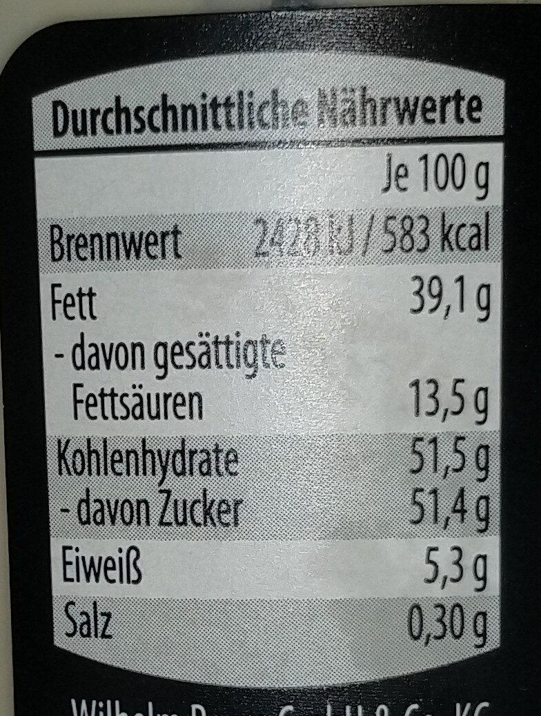 Weisse Kokoscreme - Nutrition facts