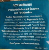 Mühlengold Rosenbrötchen - Informations nutritionnelles - de