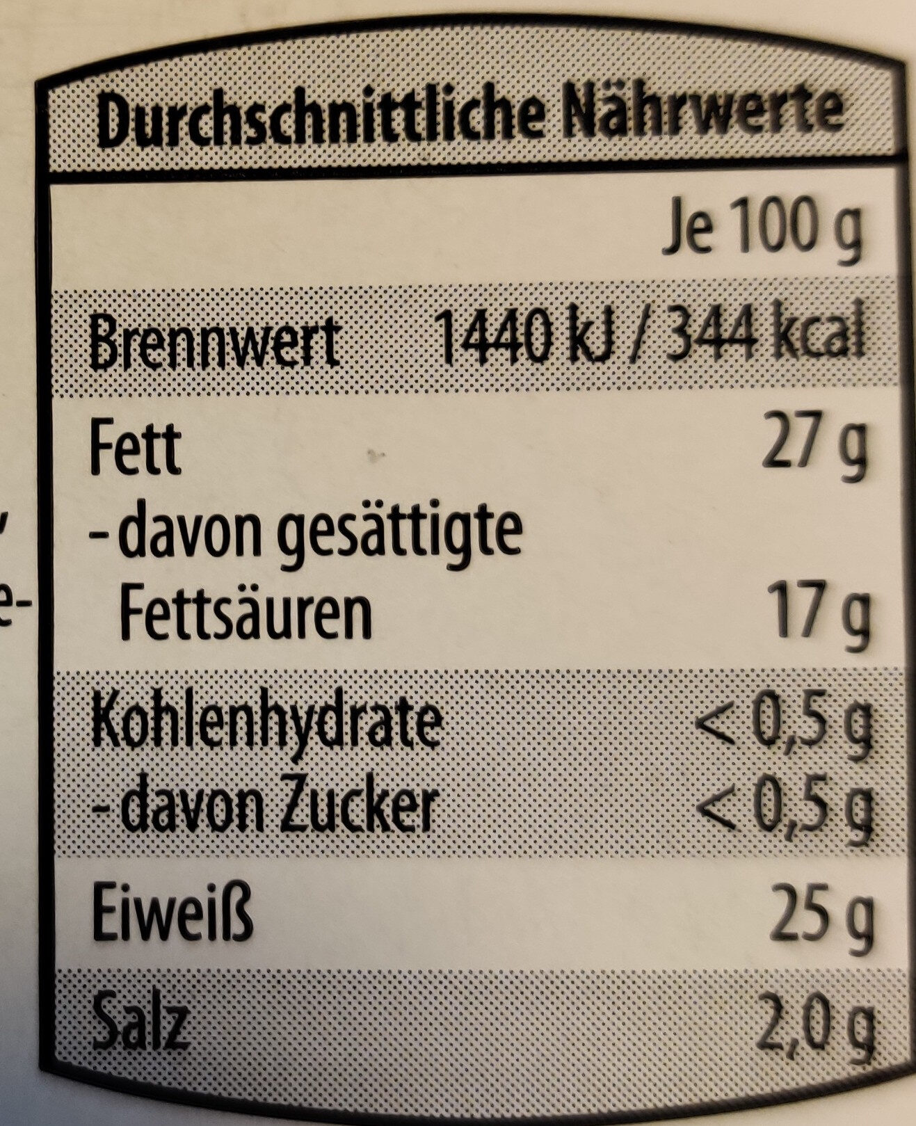 Schweizer Raclettekäse - Nutrition facts