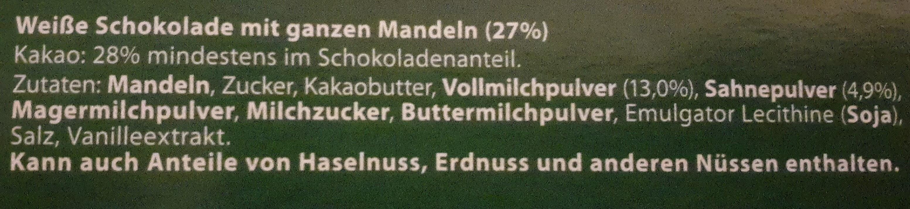 Choceur Weisse Mandel - Ingrédients - de