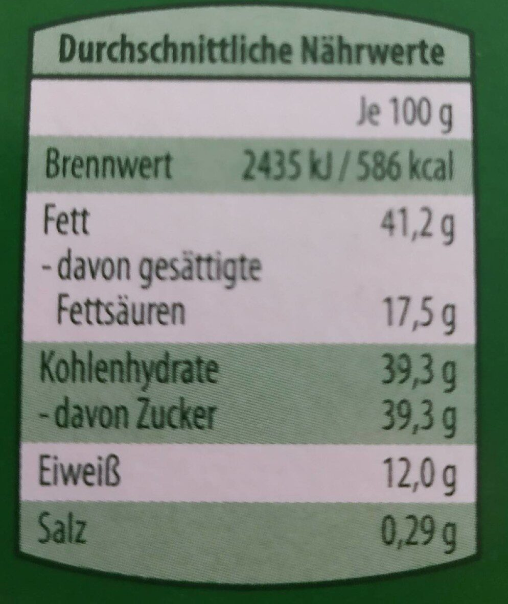 Choceur Weisse Mandel - Informations nutritionnelles - de