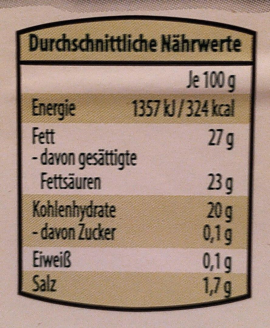 The Wonder Burger Schmelzscheiben - Nutrition facts