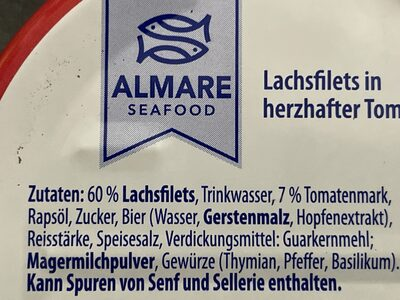 Lachsfilet in herzhafter Tomatensauce - Ingrédients - de