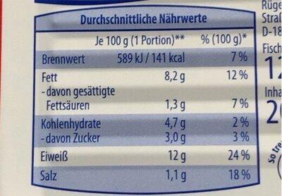 Lachsfilet in herzhafter Tomatensauce - Informations nutritionnelles - de