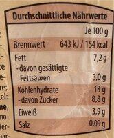 Less&Tasty Vanille Walnuss - Nährwertangaben - de