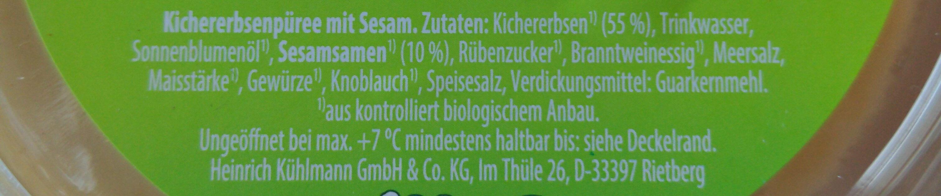 Hummus Klassisch - Ingrediënten - de
