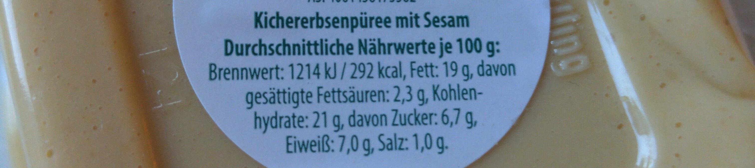 Hummus Klassisch - Voedingswaarden - de
