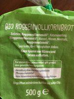 Bio Roggenvollkornbrot - Zutaten - de