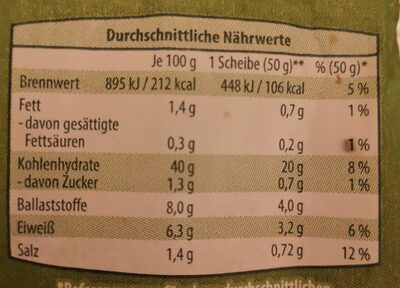 Bio Roggenvollkornbrot - Nährwertangaben - de