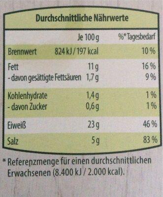 veganer bio räuchertofu - Nährwertangaben - de