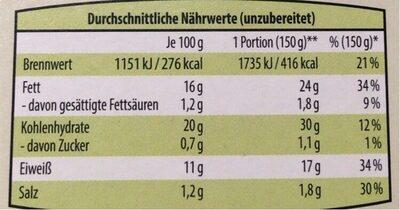 The Wonder vegane Fischstäbchen - Informations nutritionnelles