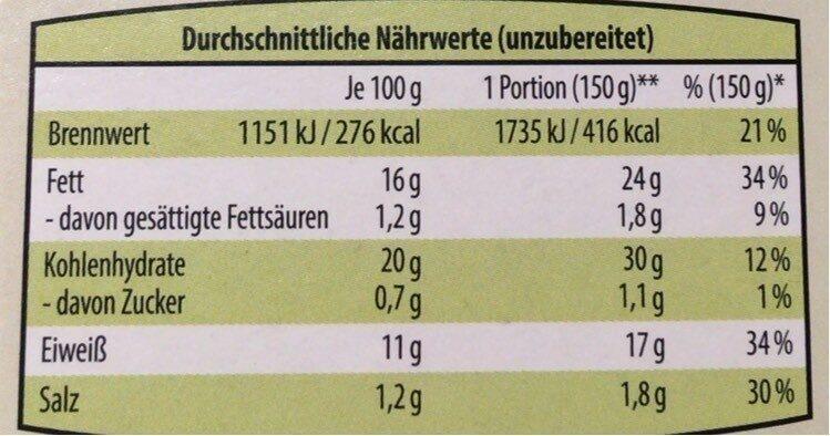The Wonder vegane Fischstäbchen - Informations nutritionnelles - de