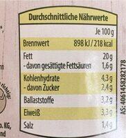 Veganer Bio Aufstrich - Spinat & Petersilie - Informations nutritionnelles - de