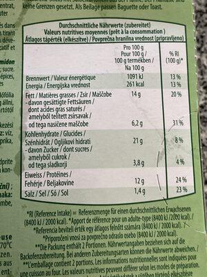 Back-Mozzarella-Sticks - Valori nutrizionali - de