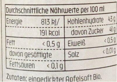 Apfel Balsamessig - Valori nutrizionali - fr
