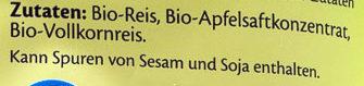 Apfel Reiswaffeln - Ingredients