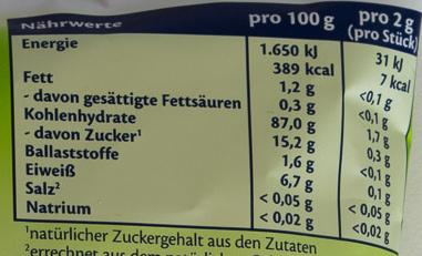 Apfel Reiswaffeln - Nutrition facts