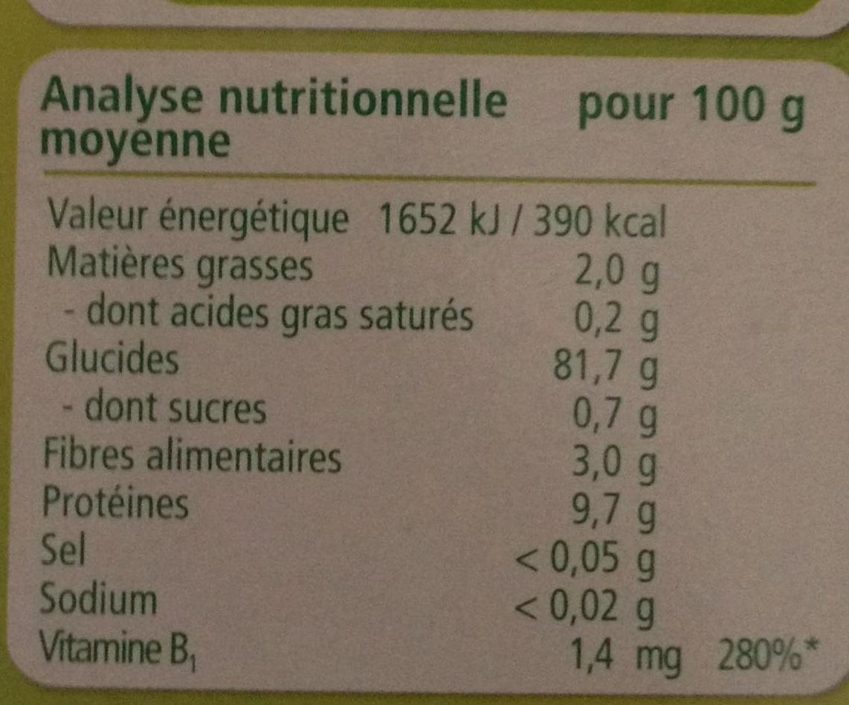Mes premières céréales - Informations nutritionnelles - fr