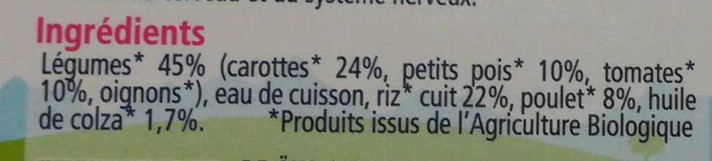 Carottes Petits pois Poulet - Ingredients