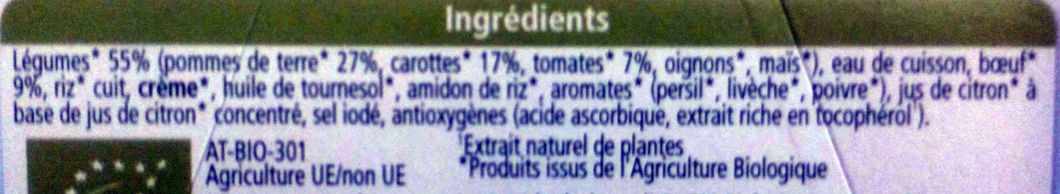 Jardinière de Légumes Bœuf - Inhaltsstoffe - fr