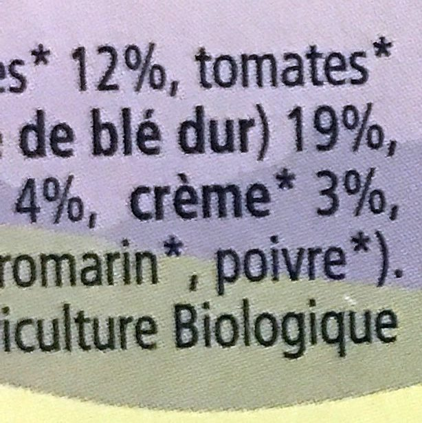 Petites Pâtes aux Légumes - Ingredients